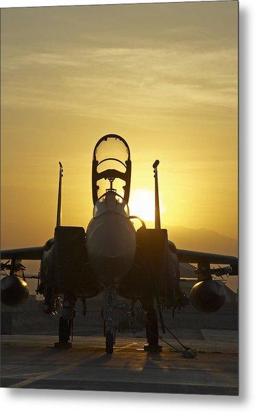F-15e Sunrise Portrait Metal Print by Tim Grams