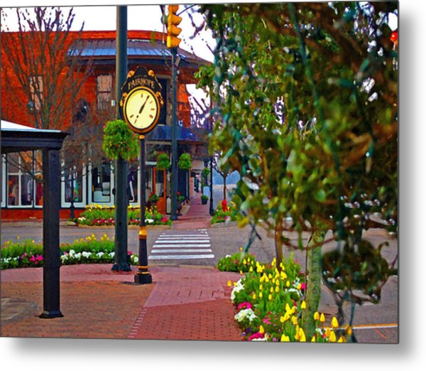 Fairhope Ave With Clock Down Section Street Metal Print