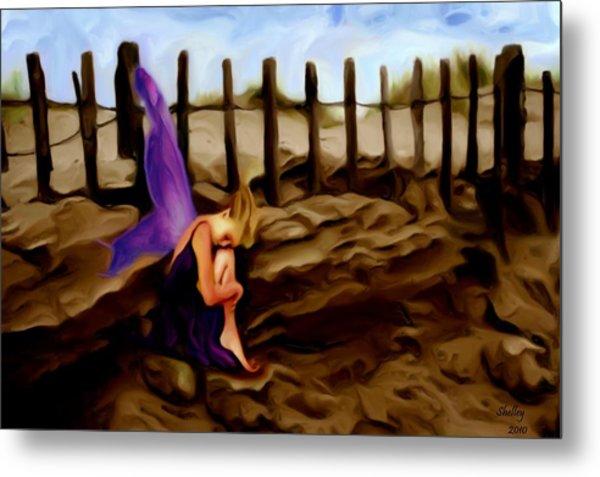Fairy Sleeping On The Dunes Metal Print by Shelley Bain