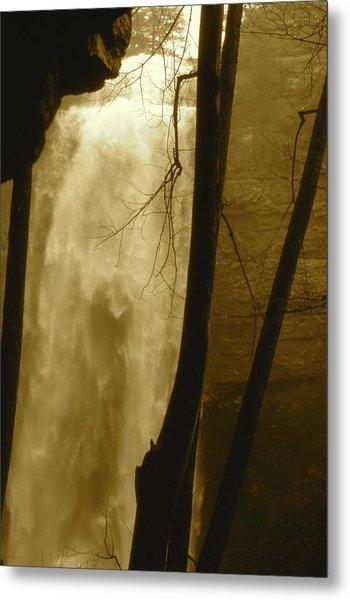Fall Creel Falls In Sepia Metal Print