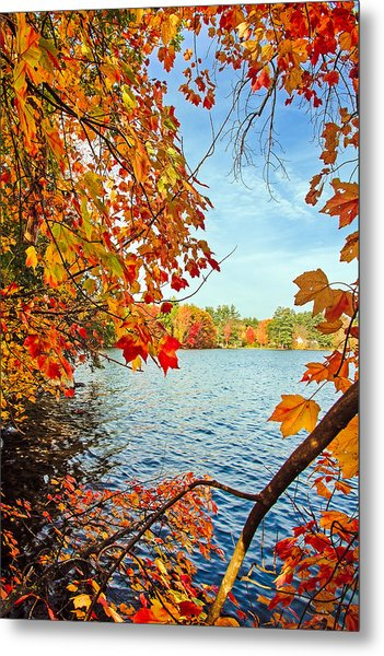 Fall On Lake Opechee Metal Print