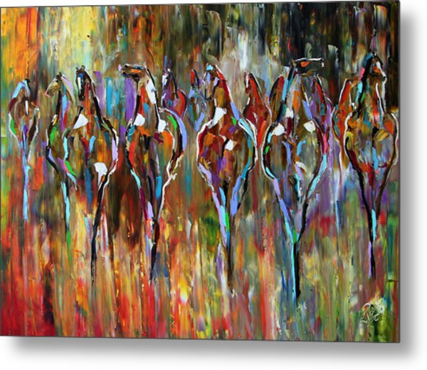 Falling Into Winter Herd Metal Print