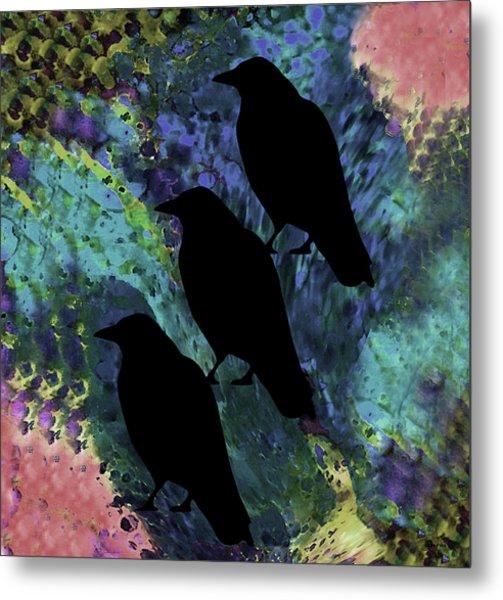 Family Crow Black Soft 2 Metal Print