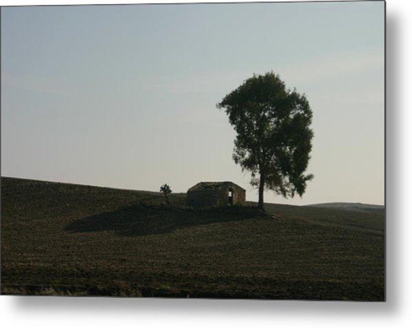 Farm House Alone. Metal Print by Dennis Curry