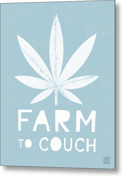 Farm To Couch Blue- Cannabis Art By Linda Woods Metal Print
