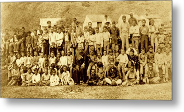 Father Damien And Boy Lepers Of Kalaupapa Metal Print by James Temple