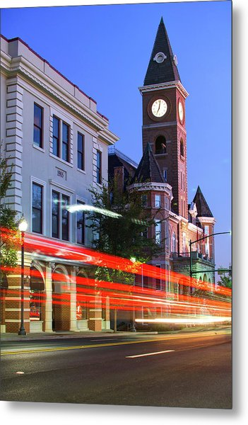 Fayetteville Arkansas Skyline At Night Metal Print