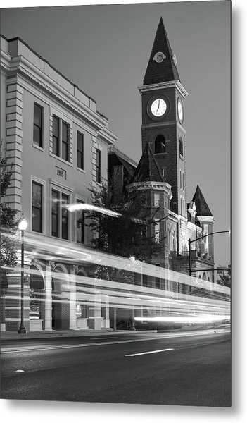 Fayetteville Arkansas Skyline At Night In Black And White Metal Print