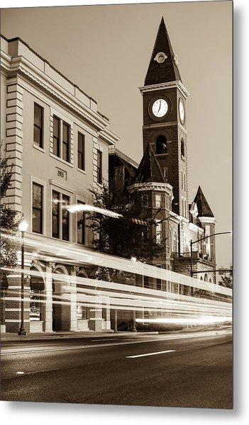 Fayetteville Arkansas Skyline At Night In Sepia Metal Print
