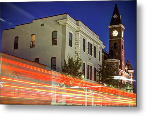 Fayetteville Skyline Long Exposure At Dusk Metal Print