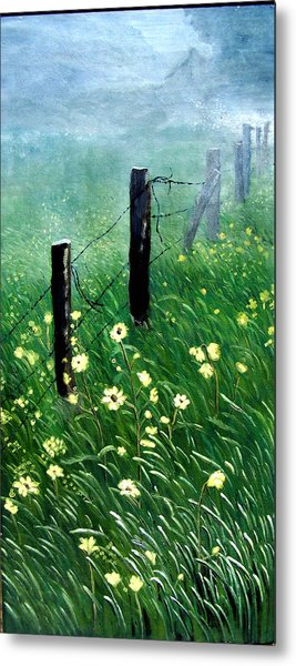 Fence With A Ghost House Metal Print by Robert Thomaston