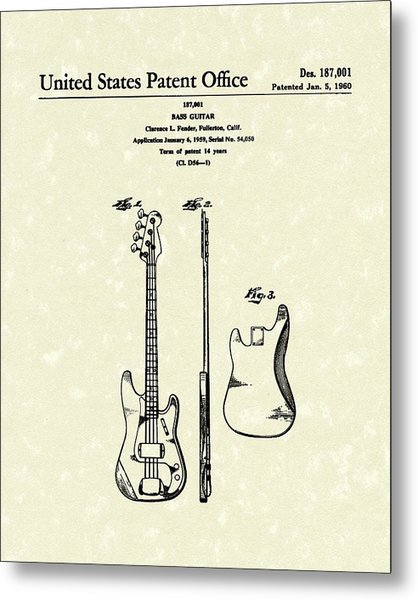 Fender Bass Guitar 1960 Patent Art Metal Print
