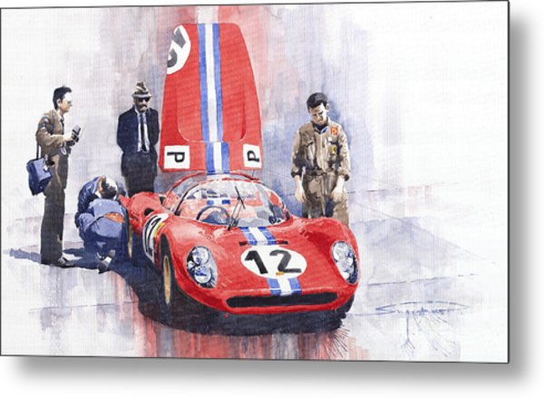 Ferrari 206 Sp Dino 1966 Nurburgring Pit Stop Metal Print