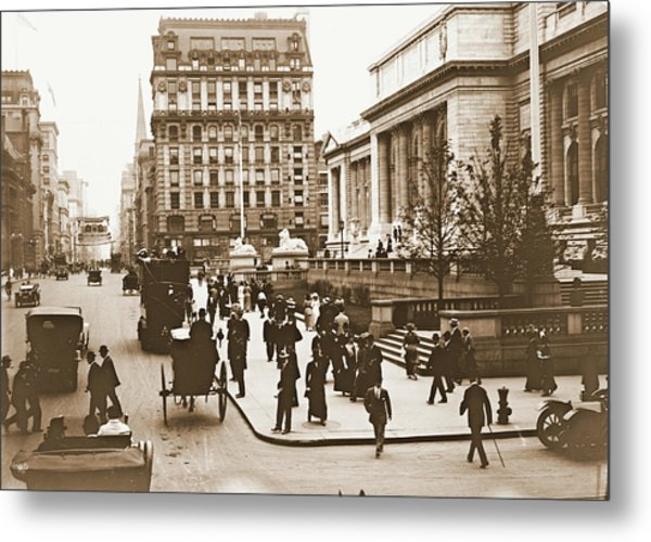 Fifth Avenue And New York City Public Library 1908 Metal Print