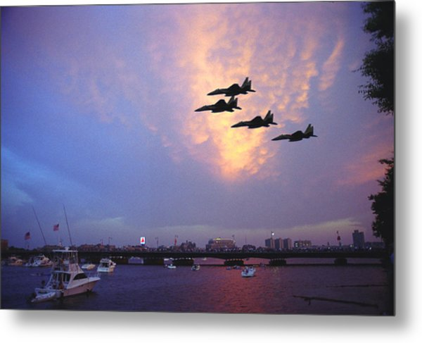 Fighter Jets Over Boston Metal Print by Rose Martin