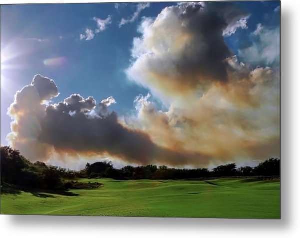Fire Clouds Over A Golf Course Metal Print