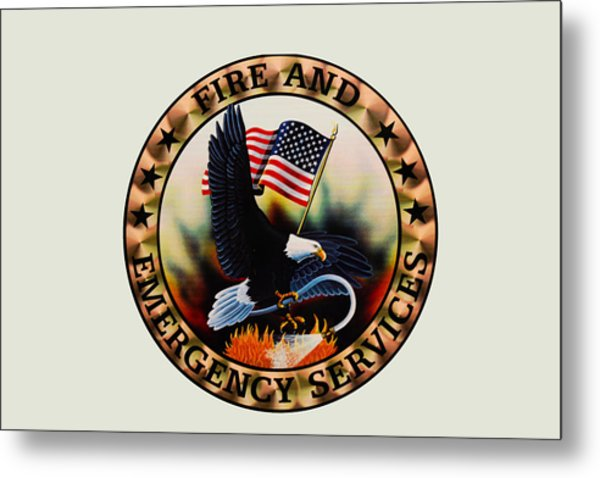 Fireman - Fire And Emergency Services Seal Metal Print