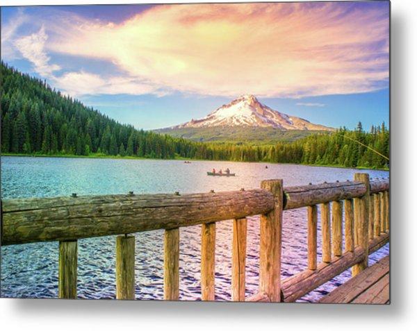 Fishing At Trillium Lake, Oregon  Metal Print