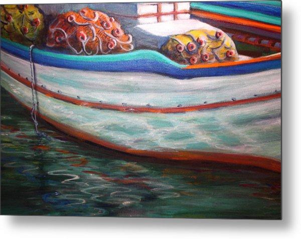 Fishing Boatgreek  Metal Print by Yvonne Ayoub