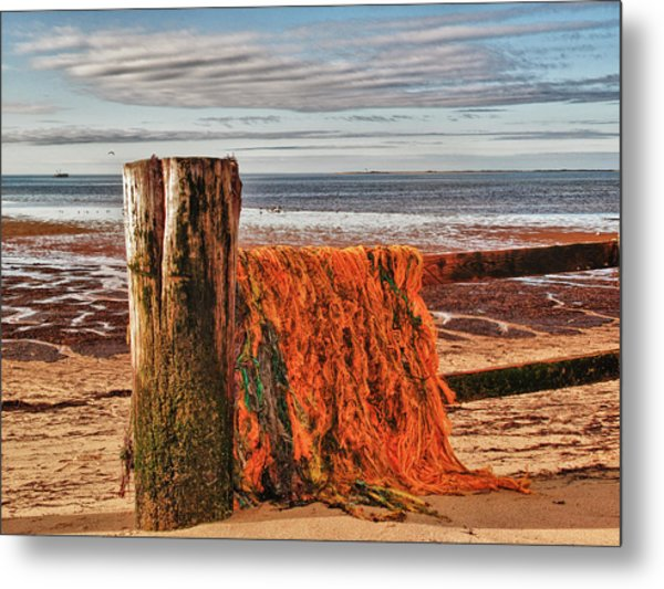 Fishing Nets In Province Town Metal Print by Linda Pulvermacher