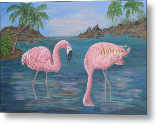 Flamingo Cove Metal Print by Mikki Alhart