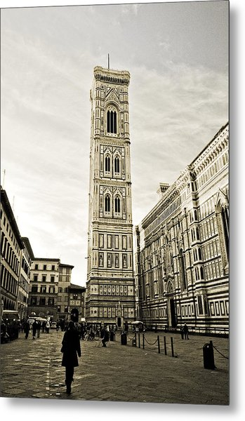 Florence Square With Giotto Metal Print by Emilio Lovisa