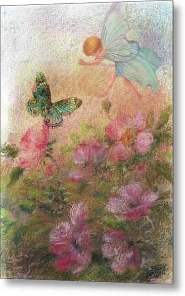 Flower Fairy Butterfly Roses Metal Print