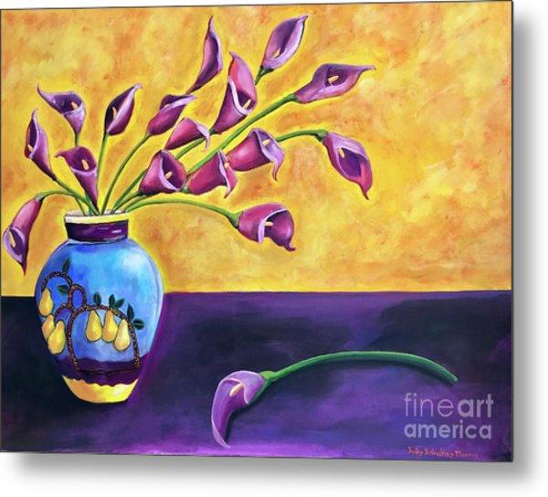 Flowers In Blue Vase Metal Print