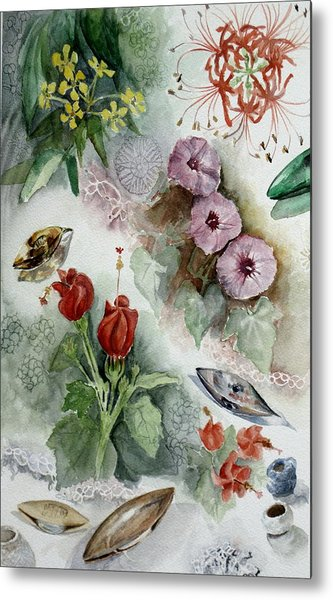 Flowers And Lace Metal Print by Karen Boudreaux