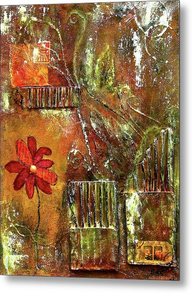 Flowers Grow Anywhere Metal Print