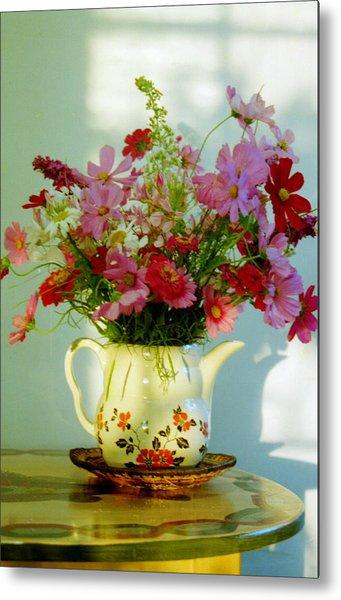 Flowers In A Teapot Metal Print