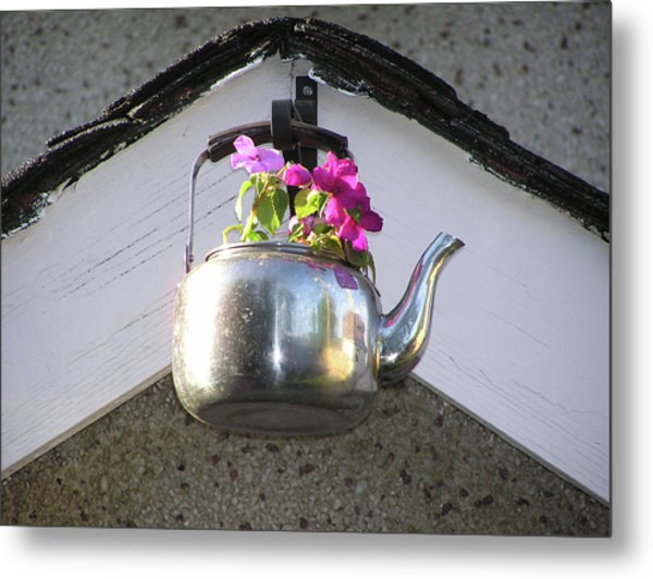 Flowers In Teapot Metal Print by Richard Mitchell