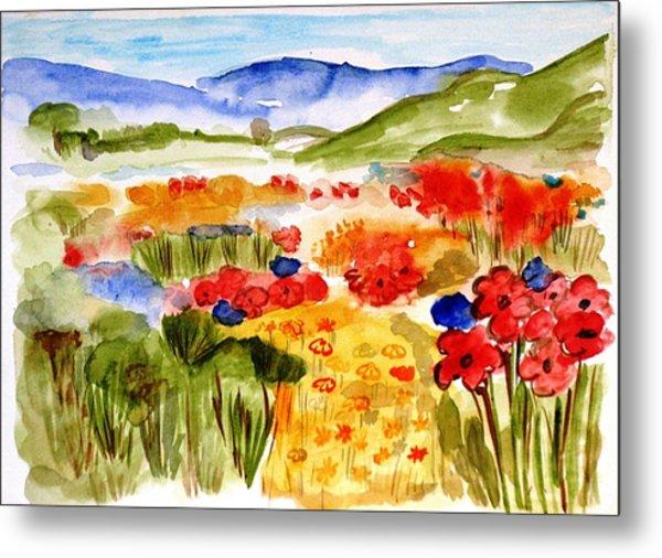 Flowery Meadow Metal Print