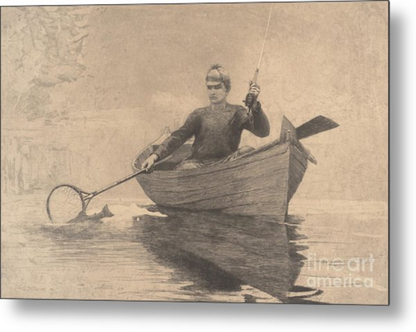 Fly Fishing, Saranac Lake, 1889 Metal Print