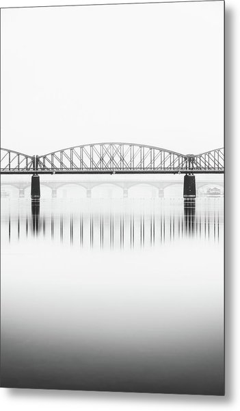 Foggy Winter Mood At Vltava River. Reflection Of Bridges In Water. Black And White Atmosphere, Prague, Czech Republic Metal Print