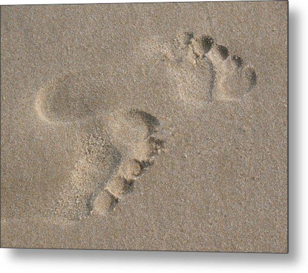 Footprints In The Sand 2 Metal Print by Susan  Lipschutz