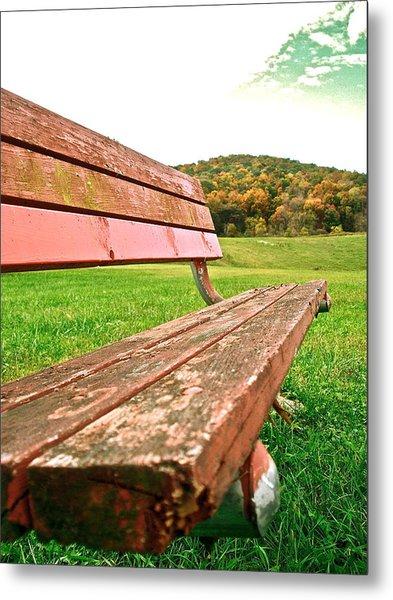 Forgotten Park Bench Metal Print by Jennifer Addington