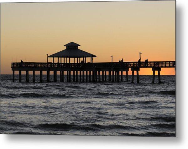 Fort Myers Beach Pier Sunset Metal Print