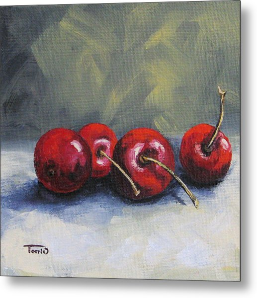 Four Cherries Metal Print