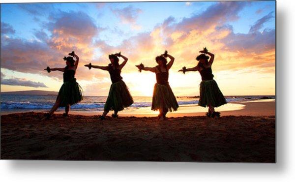 Four Hula Dancers At Sunset Metal Print