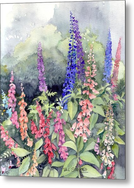 Foxgloves Metal Print by Val Stokes