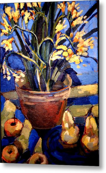 Freesia And Pears Metal Print