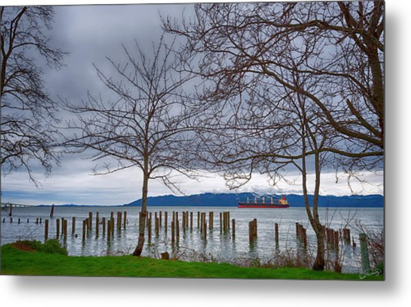 Freighter On The Columbia Metal Print