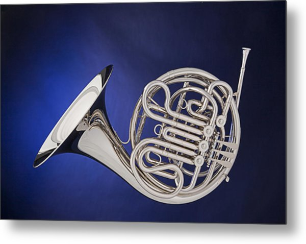 French Horn Silver Isolated On Blue Metal Print