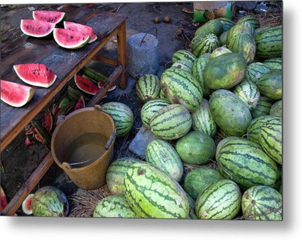 Fresh Watermelons For Sale Metal Print by Sami Sarkis