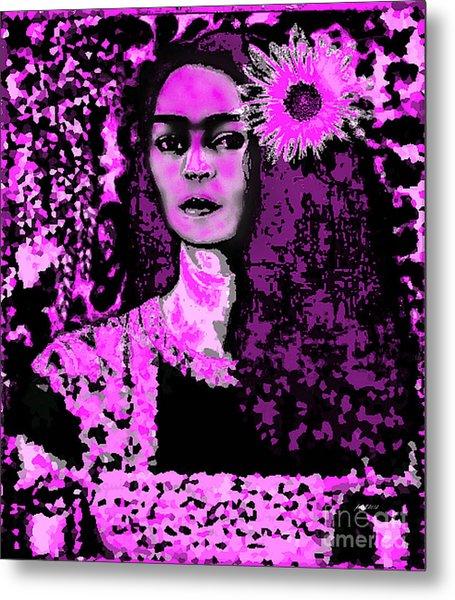 Frida In Frida Pink Metal Print