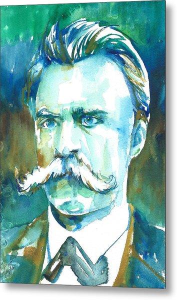 Friedrich Nietzsche Watercolor Portrait.1 Metal Print