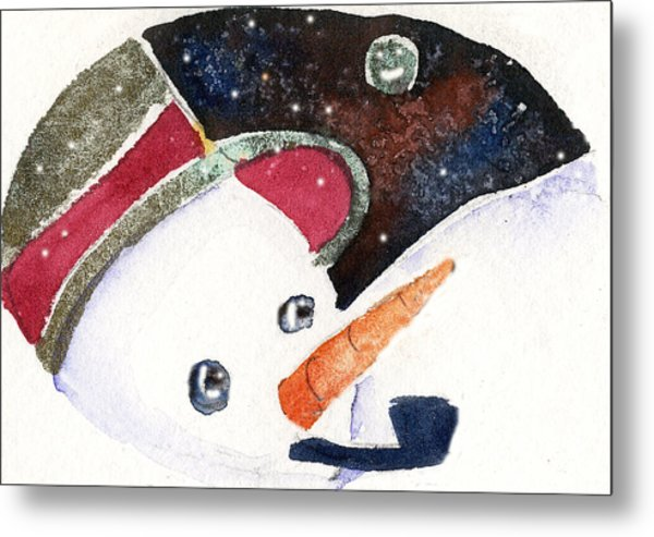 Frosty And The Moon Metal Print