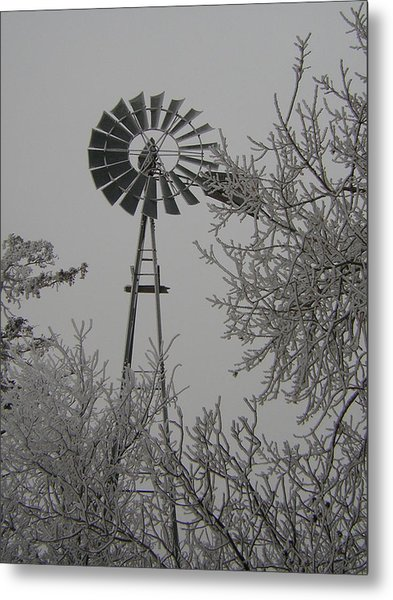 Frosty Windmill Metal Print by Deena Keller