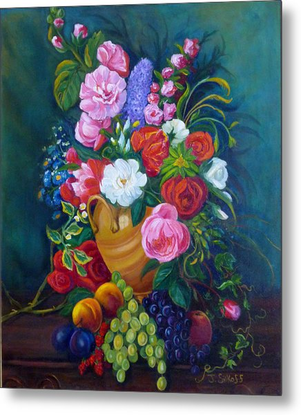 Fruit And Flowers Metal Print by Janet Silkoff